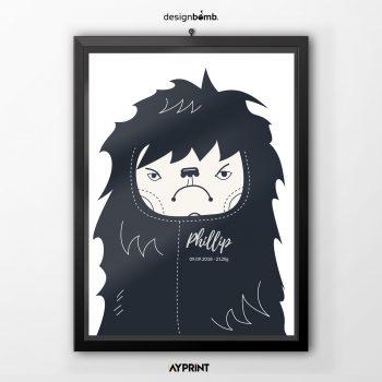 Moderner Hipster Junge personalisiert mit Wunschdaten Poster